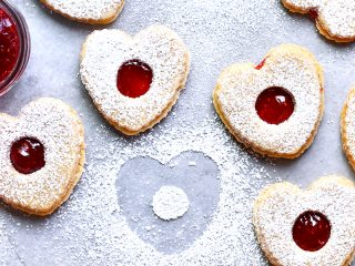 Brown Butter Linzer Heart Cookies