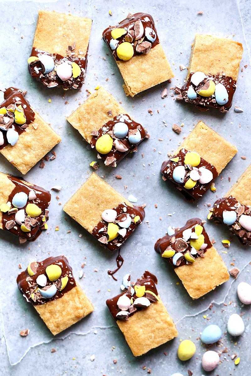 Chocolate Dipped Cadbury Mini Egg Blondies