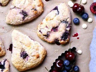 Cherry Blueberry Cream Scones