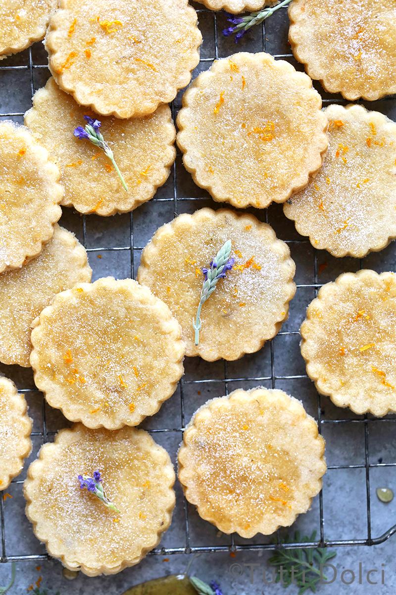 Orange Honey Lavender Shortbread Cookies