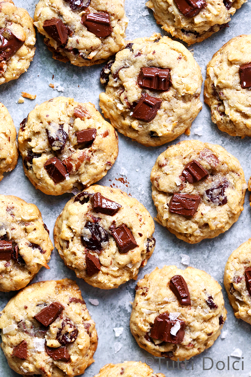 Chocolate Chunk Cherry Pecan Oatmeal Cookies