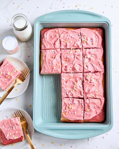Raspberry Vanilla Swirl Sheet Cake