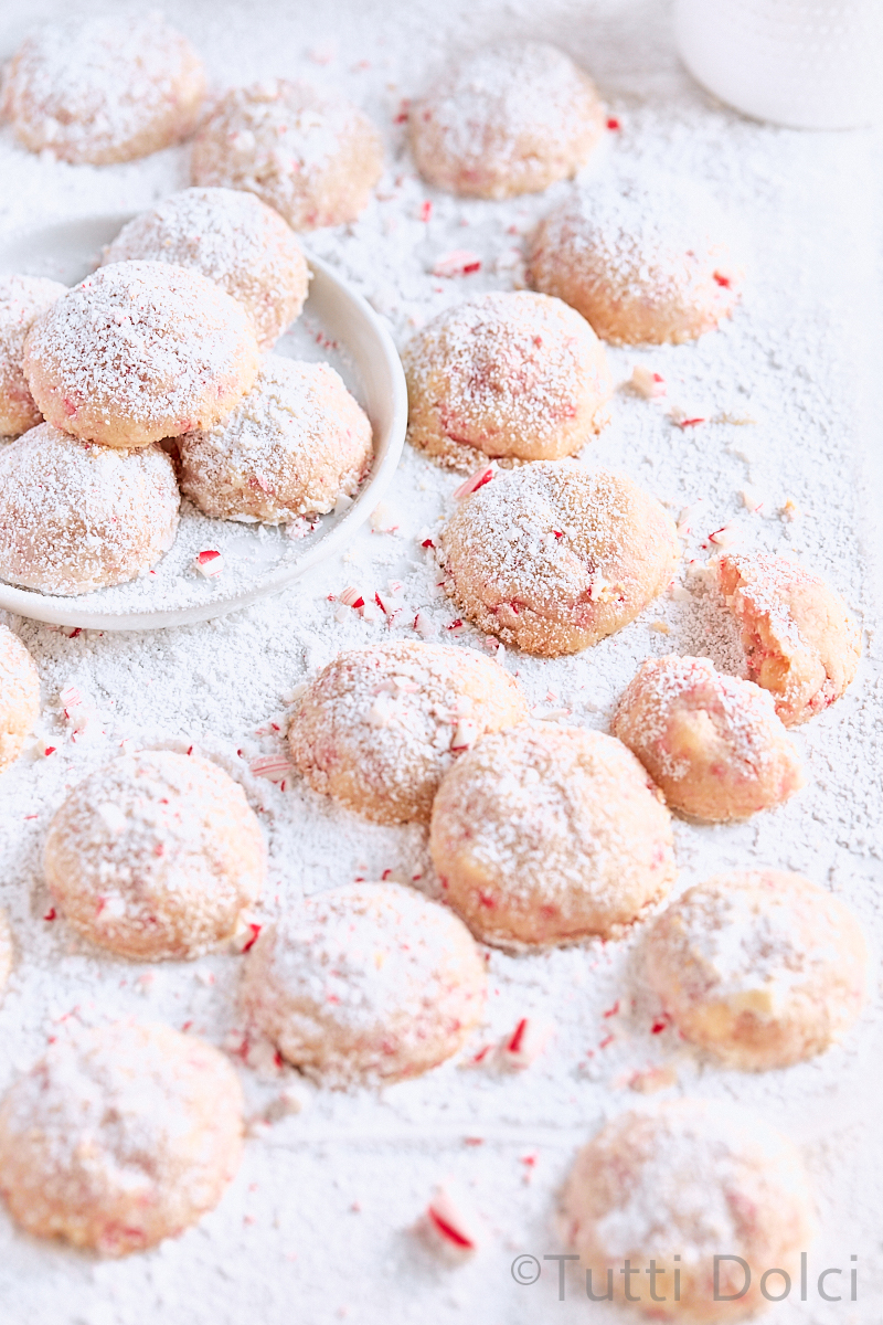 Peppermint White Chocolate Snowball Cookies