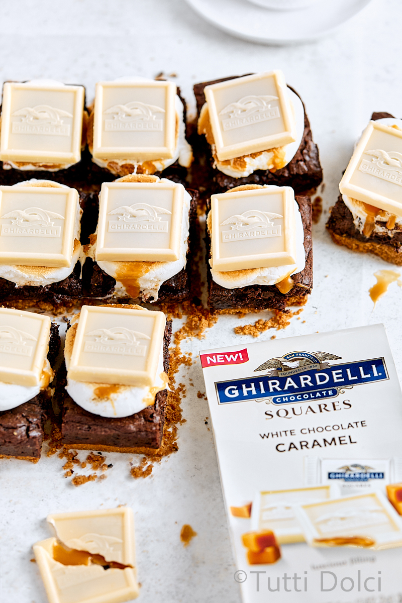 White Chocolate Caramel S'mores Brownies