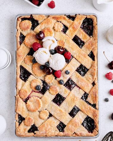 Mixed Berry Cherry Slab Pie